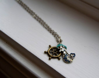 mermaid and ship wheel necklace