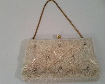 1960's Bride's Purse Vintage White Beaded with Rhinestones Evening Bag Boho Beaded Handbag White Formal Purse  Made in Hong Kong