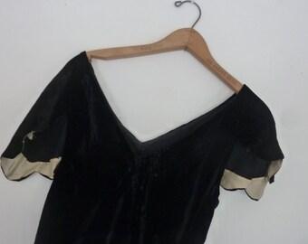 20's Black Velvet Evening Gown Cut On the Bias Size Small Boho Flapper Black Velvet Maxi Dress Ingenue Style Wiggle Asymmetrical Hem