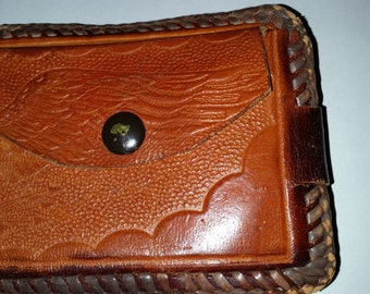 Hand Tooled Wallet Vintage Brown Leather Billfold Western Style with Plastic photo Sleeves Made in 1960's