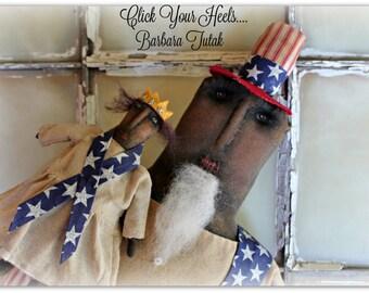 """Uncle Sam & Lady Liberty Set  24"""" tall.... Primitive... Folk Art Doll"""