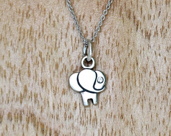 Little Elephant Charm Necklace, Sterling Silver, Rhodium Sterling silver chain and Gift box included.