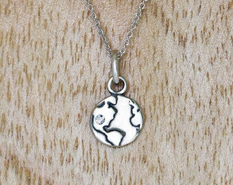 Little Globe Charm Necklace, Sterling Silver, Rhodium Sterling silver chain and Gift box included.