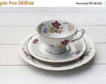 SALE Mismatched Vintage German Teacup and Saucer Trio Set- Pink Floral on White # 509
