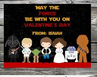DIY Printable Favor Cards- Star Wars Valentines Day Tags -Holiday Cards -School Treats -Holiday -Star Wars -Darth Vader -Yoda