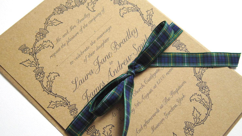 Ideas Scottish Wedding Invitations scottish thistle wedding invitation sample by stnstationery sample