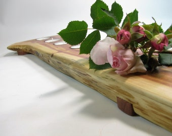 Long split log tea light candle holder. Rustic juniper wood tea light candle holder.