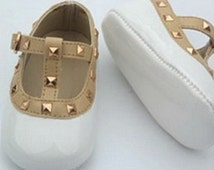 White Baby shoes Pink toddler shoes prewalker shoes valentino baby shoes stud baby shoes