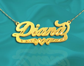 Name Necklace - 24K Gold Plated Sterling Silver - Personalized Name Necklace - Made in USA