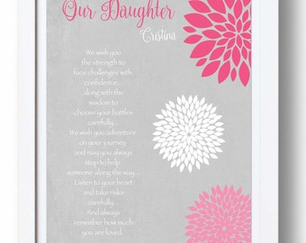 Graduation gift for daughter from parents - Birthday Gift for Daughter - Inspirational print - Gift from Mom - 8x10 Print - other colors