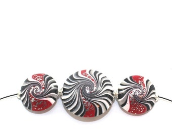 Swirl lentil beads in black, white and red with silver touch, Polymer Clay beads for Jewelry Making, elegant beads Set of 3