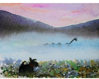 Scottie Dog 'Scottie Spots Nessie' Limited Edition  Art Print Scotland #25