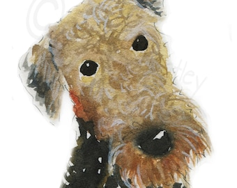Airedale Terrier Dog Art Print #108 A5 size