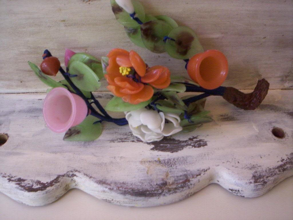 Vintage glass flowers centerpiece fake decorativ faux