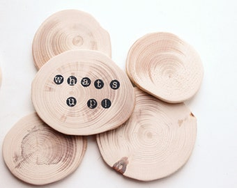 Set of 5 Unfinished wooden slices - natural eco friendly