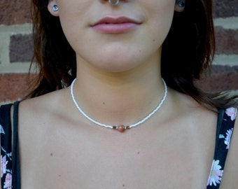 Beaded Goldstone and White Choker Necklace