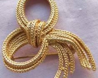 Vintage 1970s Brooch Plaited Bow Costume
