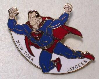 Vintage New York Jaycees Superman Gold Tone Enamel Lapel Pin, Man of Steel, Superhero