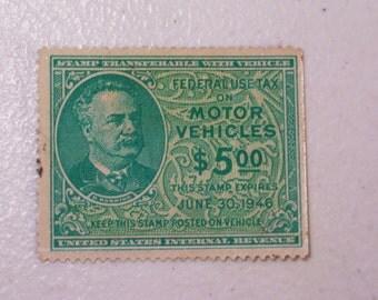 1946 US Motor Vehicle Revenue Tax Stamp, 5 Dollars, Scott # RV42, MNH, mint