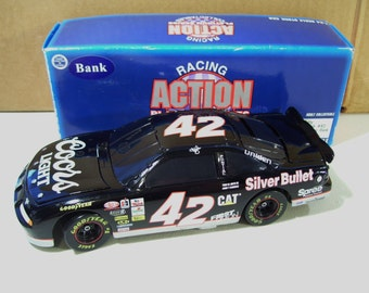 Vintage Action Nascar Kyle Petty #42 Coors Light Silver Bullet Black, Die-cast Car Coin Bank 1996, 1/24 Scale, Limited Edition, In Box