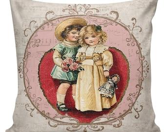 Valentine Pillow, Love Pillow, Romance, French Style Throw Pillow Cushion Cotton with Cotton or Burlap Back #EHD0068 Elliott Heath Designs