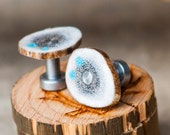 Mens Cuff Links Elk Antler with Turquoise Inlays - Staghead Designs