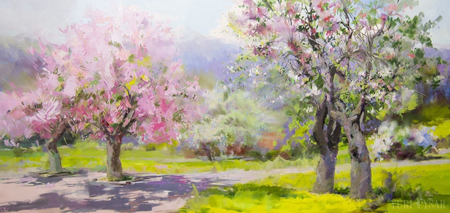 spring motif painting landscape - photo #18
