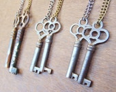 The Victorian: Authentic Antique Key Necklace  |  Steel Chain  |  Antiqued Brass or Gunmetal Plated  |  Skeleton Key  |  Limited Edition