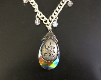 "Beatles crystal ""I Love You More"" pendant necklace"