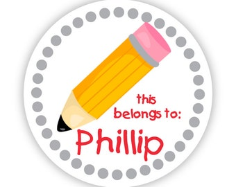 Personalized Name Label Stickers - School Pencil, Gray Polka Dots, Pencil School Name Stickers - Back to School - This Belongs To Labels