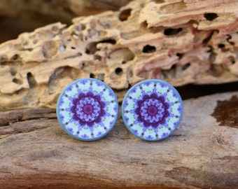 Mint Mandala Posts, Purple Studs, Mandala Earrings, Trending Bohemian Studs, Original Jewellery, Decoupage Earrings, Allergy Free Ear Posts