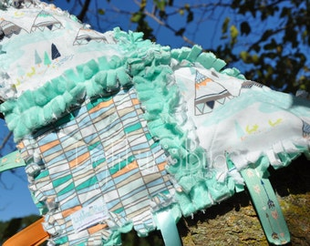 TeePee Indian Baby Tag Blanket / Minky Blanket for boys in Mint and Orange