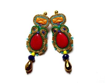 Dominika - elegant, impressive soutache earrings, long, eye-catching, colorful and bright