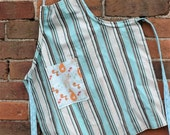 Child's apron, reversable, adjustable orange fox teal stripe apron
