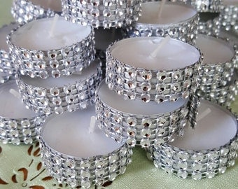 Wedding bling tealights. 48 candles, 4 dozen for wedding. Made by a stay at home veteran.