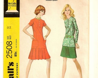 "A Two-Piece Dress Pattern for Women: Long/Short Sleeve Long Top and Low Pleated or A-Line Skirt - Uncut -  Size 12, Bust 34"" • McCall's 2508"