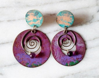 Vintage Turquoise and Purple Patina Metal Dangle Earrings with Swirls
