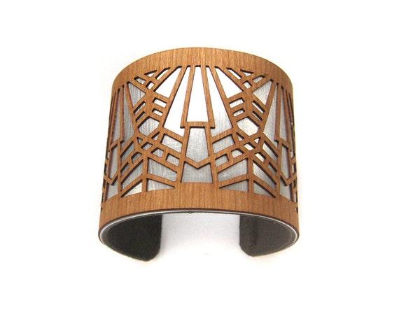 Laser Cut Wood Cuff Bracelet Metropolis | Art Deco Jewelry | Modern Cuff Bracelet | Statement Cuff Bracelet | Art Deco Bracelet