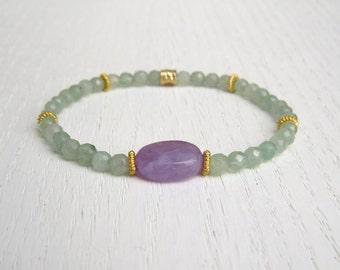 Green aventurine bracelet, Amethyst bracelet, Stretch bead bracelet