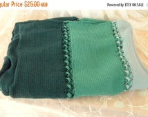 Autumn Sale Vintage Knitted Afghan in Three Shades of Green, Forest, Jade and Seafoam,Very Warm and Soft Acrylic Yarn
