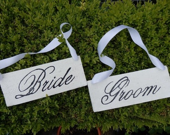 Bride And Groom Chair Signs Wedding Photo Prop Wooden Handcrafted
