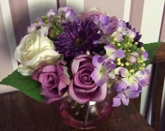 Artificial Silk Lilac Roses Hydrangeas Bowl Arrangement