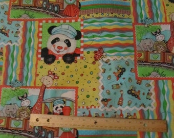 Multicolor Bazooples Animal Train Cotton Fabric by the Yard