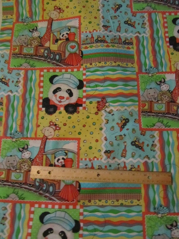Multicolor bazooples animal train cotton fabric by the for Train fabric by the yard