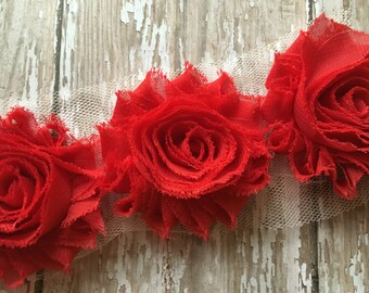 """Red ** Shabby Flower Trim Chiffon Rosettes - ** Flowers by the yard- 1/2 yard or 1 Yard - Yd - Each flower measures 2.5"""""""