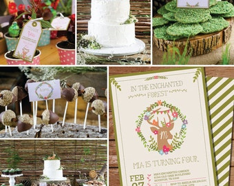 Enchanted Woodland Party Printable Set - Deer Antlers - Forest Party - Instant Download - Edit File at home with Adobe Reader