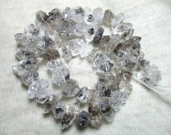 WOW BIG 16-18 MM Double Terminated  Rutilated Natural Herkimer Crystal Type Diamond Quartz Beads strands Pakistan HE176