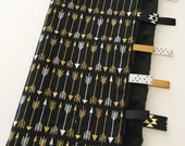 Quick Ship!...Lovey Ribbon Sensory Blanket...Black and Gold Arrows with Minky...Can Be Personalized...No Loops