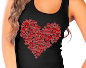 Fashion Vixen Red Glitter Heart made of Skulls Black Tank Top - Available in S M L XL Plus Size 1x 2x 3x 4x 5x