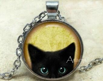 Black kitten pendant, Black Cat pendant, Black Cat necklace, Black Cat Photo Art Pendant, Pendant #AN116P